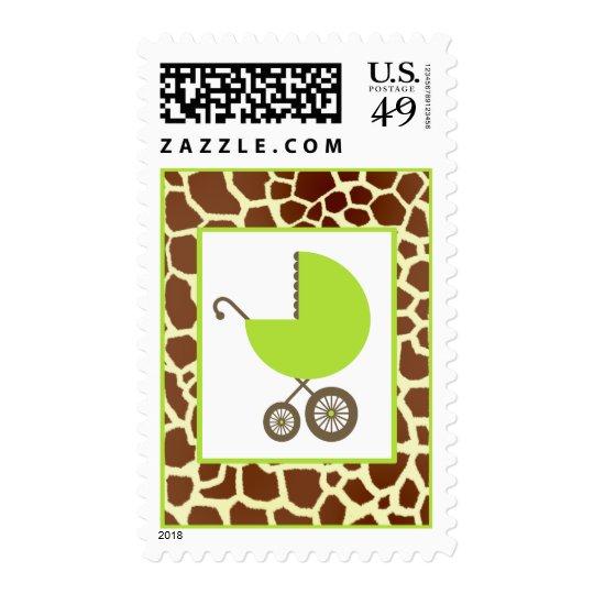 Baby Shower  - Green Carriage & Giraffe Print Postage