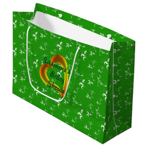 Green Baby Gifts Uk : Baby shower green floral large gift bag zazzle