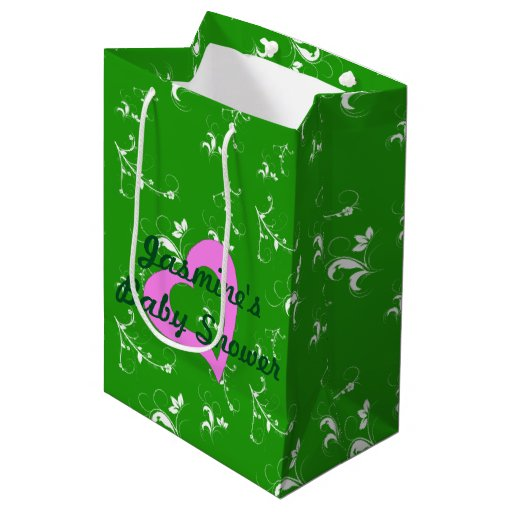 Green Baby Gifts Uk : Baby shower green floral medium gift bag zazzle