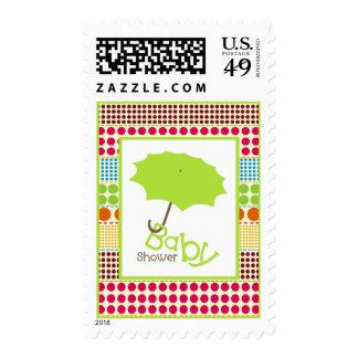 Baby Shower  - Green Umbrella & Boho Dots Stamp