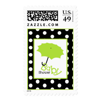 Baby Shower  - Green Umbrella & Polka Dots Stamp