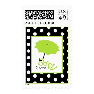 Baby Shower  - Green Umbrella & Polka Dots Stamps