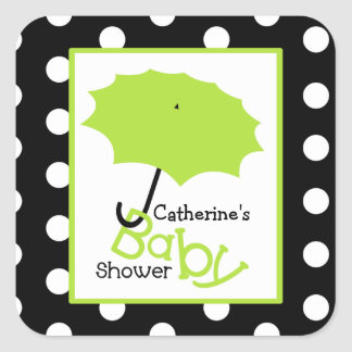 Baby Shower Green Umbrella & Polka Dots Square Sticker