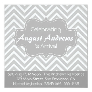 Baby Shower: Grey and White Chevron Pattern 5.25x5.25 Square Paper Invitation Card