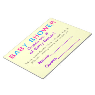 BABY SHOWER Guess the # of Baby Beans! Memo Pad