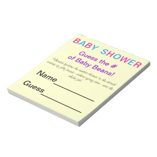 Baby Shower Notepads Baby Shower Note Pads Zazzle