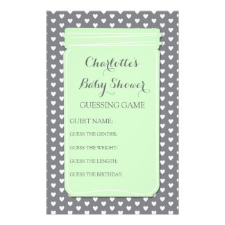 Baby Shower Guessing Game Green Mason Jar Personalized Stationery
