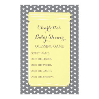 Baby Shower Guessing Game Yellow Mason Jar Personalized Stationery