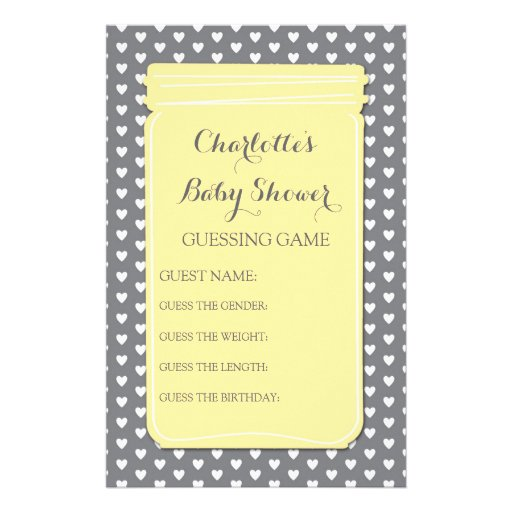 baby shower guessing game yellow mason jar stationery zazzle