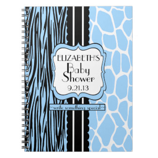 Baby Shower Guest Book-Blue Spiral Notebook