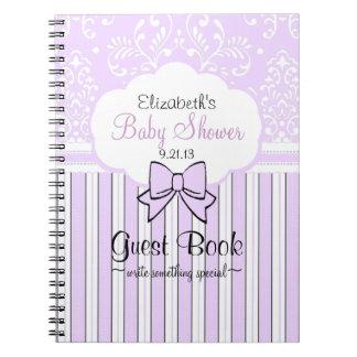 Baby Shower Guest Book-Lavender Damask Notebook