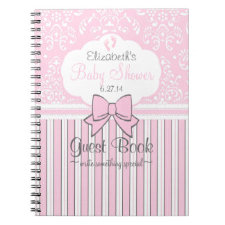 Baby Shower Guest Book-Pink Damask and Stripes Spiral Note Books