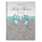 Baby Shower Guestbook Faux Silver Sequins Teal Bow Notebook