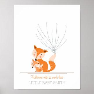 Baby shower guestbook fingerprints woodland Fox Poster