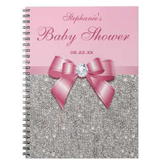 Baby Shower Guestbook Silver Sequins Pink Bow Notebook