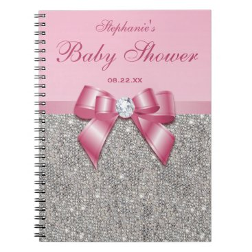 Toddler & Baby themed Baby Shower Guestbook Silver Sequins Pink Bow Notebook
