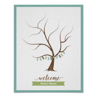 Baby Shower Guestbook Tree (Blue) - 11x14 Poster