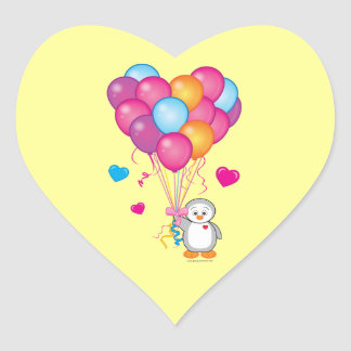 Baby Shower Heart of Balloons with Penguin Heart Sticker