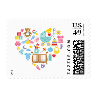 Baby Shower Heart Postage Stamp