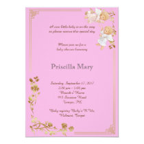 Baby Shower honoring girl pink. Card