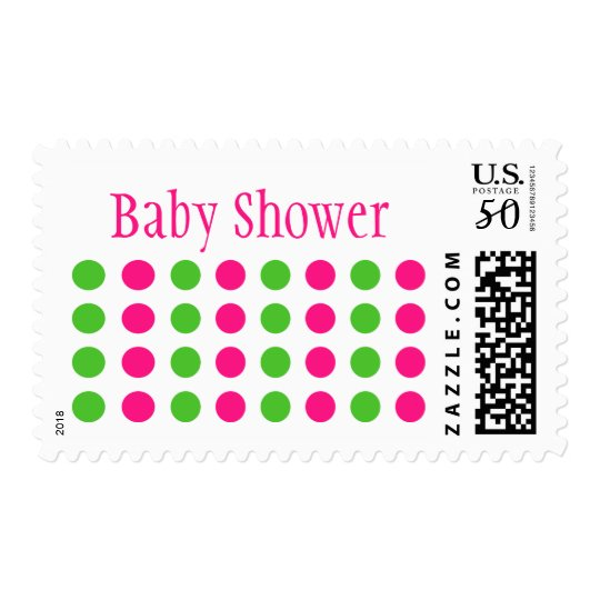 Baby Shower (Hot Pink / Lime Green Stamp) Postage