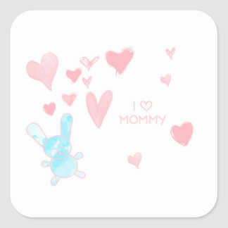 Baby shower I LOVE MOMMY Square Sticker