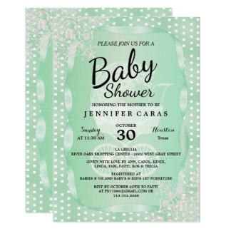Baby Shower in an Elegant Mint Green and White Card