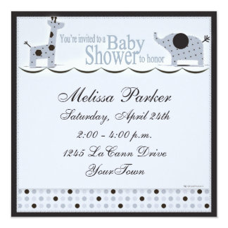 Baby Shower in Blue with Poka Dots Invitation