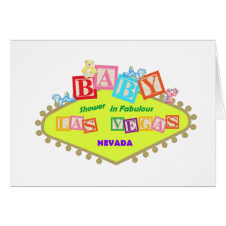 Baby Shower In Fabulous Las Vegas with Baby Blocks Greeting Card