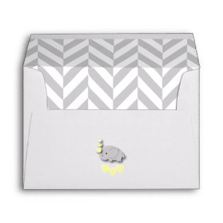 Baby Shower in Gray Chevron and Yellow Elephant Envelope