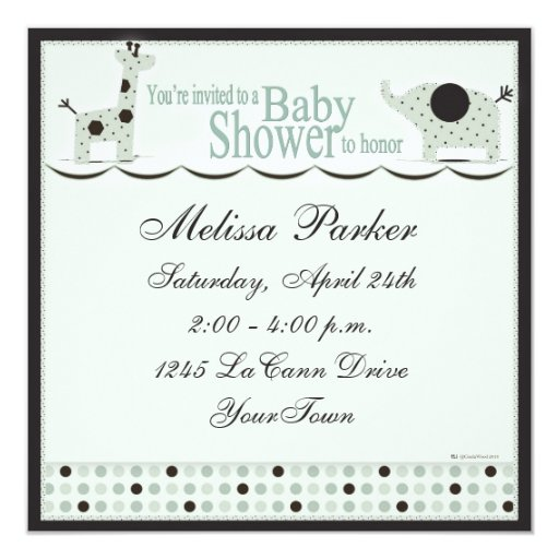 Baby Shower in Green with Poka Dots Card