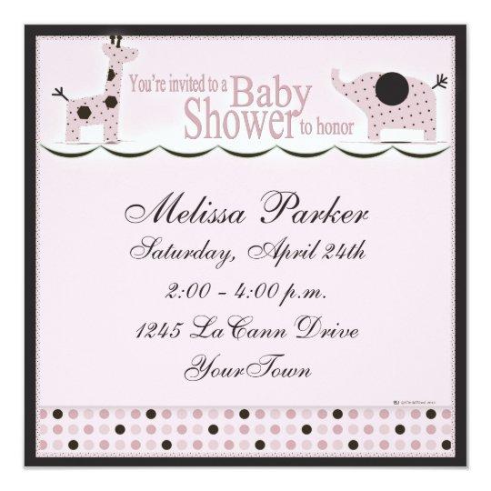 Baby Shower in Pink Poka Dots Invitation