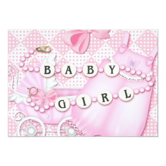 BABY SHOWER INVIATION - PINK FOR GIRL 5X7 PAPER INVITATION CARD