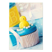 baby, shower, invitation, duck, ducky, blue, yellow, Invitation with custom graphic design