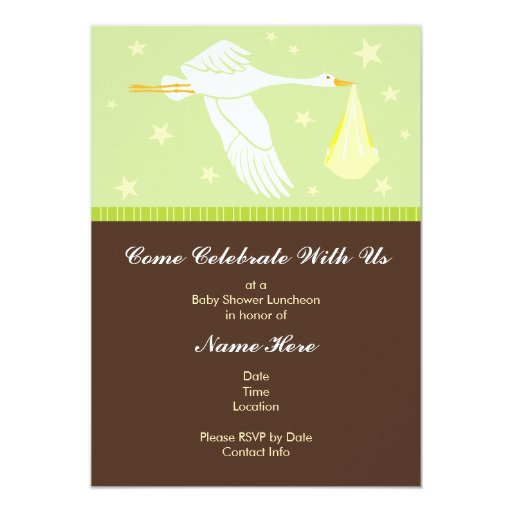 Baby Shower Invitation 5x7 - Green and Brown