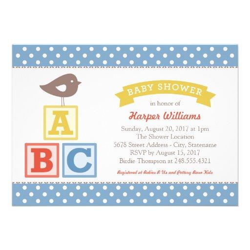Baby Shower Invitation Abc Alphabet Blocks Theme 5 Quot X 7