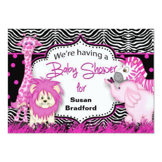 Baby Shower Invitation - Baby Animals/Pink/Black