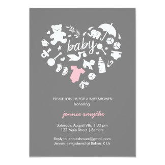 Baby Shower Invitation-Baby Icon Heart-Pink/Grey Card