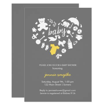 Valentines Themed Baby Shower Invitation-Baby Icon Heart-Yellow/Grey Card