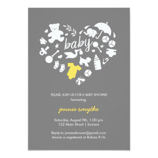 Baby Shower Invitation-Baby Icon Heart-Yellow/Grey Card