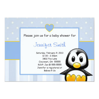 Baby Shower Invitation - Baby Penquin Heart