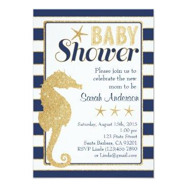 Beach Themed Baby Shower Invitation Beach Theme-Gold Seahorse