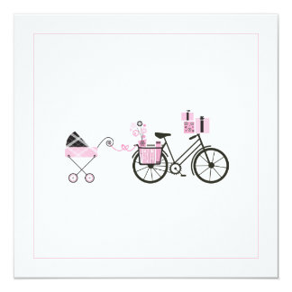 """Baby Shower Invitation - Bicycle and Baby Carriage 5.25"""" Square Invitation Card"""