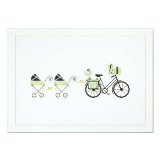 """Baby Shower Invitation - Bicycle & Baby Carriage 5"""" X 7"""" Invitation Card"""