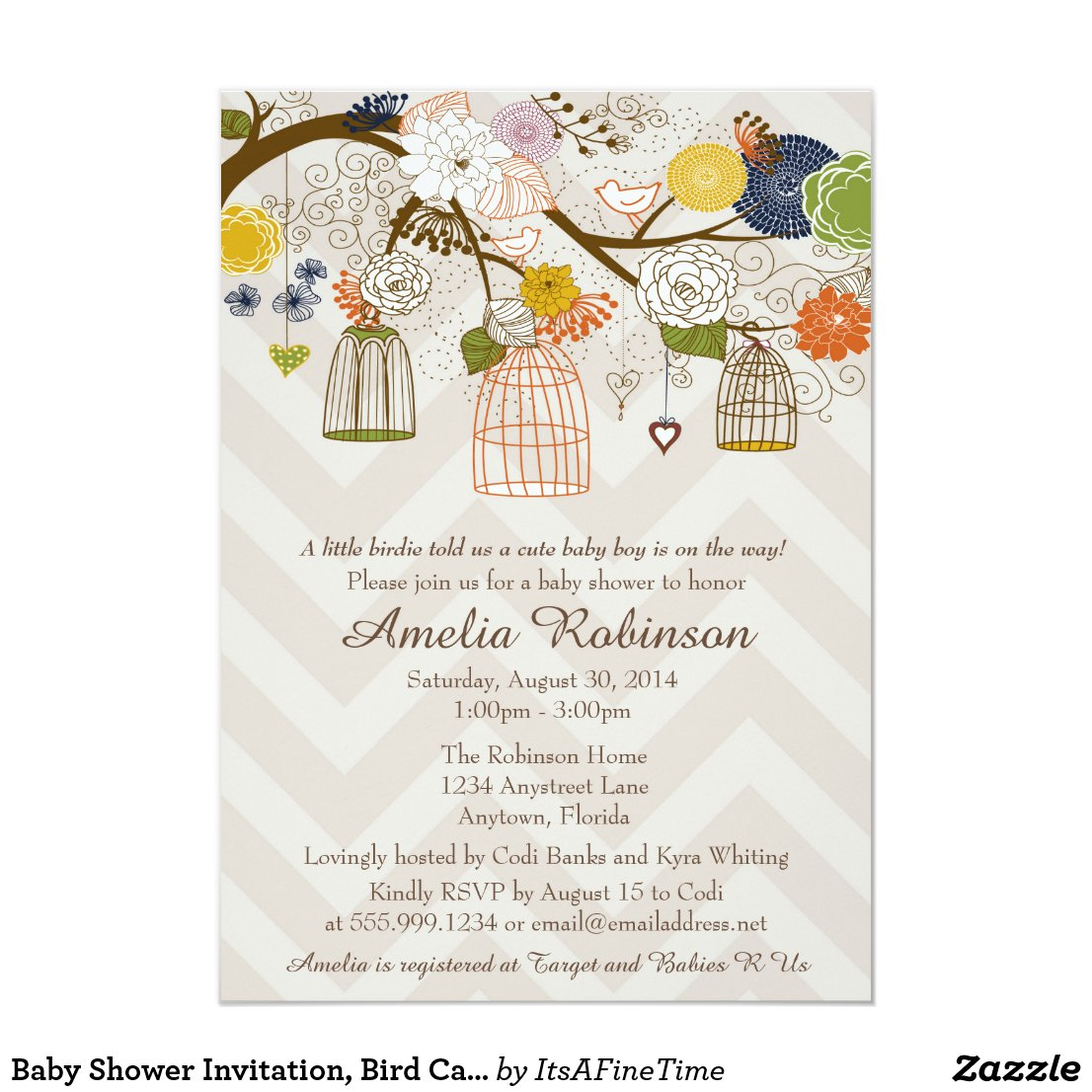 Baby Shower Invitation, Bird Cages Tree Bold Color Card