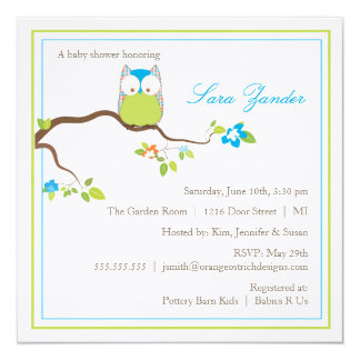 Baby Shower Invitation - Blue and Green Baby Owl