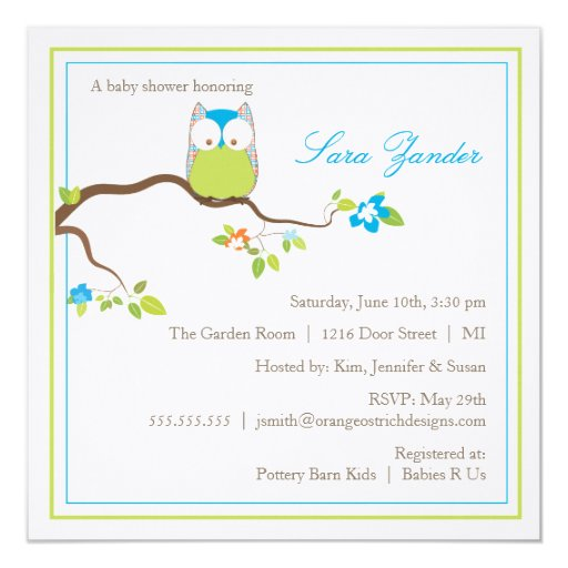 baby shower invitation blue and green baby owl zazzle