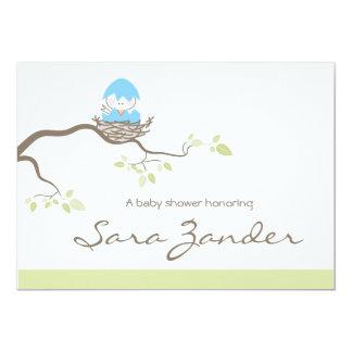 Baby Shower Invitation - Blue Baby Bird