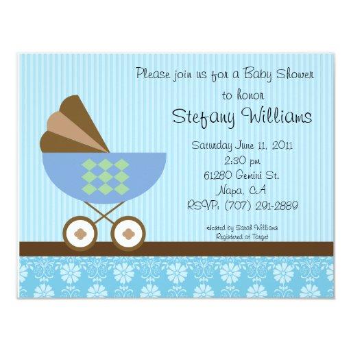 "Baby Shower Invitation Blue Brown Theme 4.25"" X 5.5"" Invitation Card"