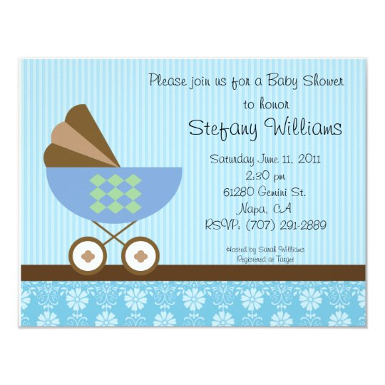 Baby Shower Invitation Blue Brown Theme